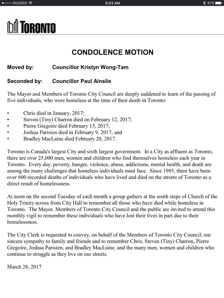 Condolence motion at #TOcouncil for 5 individuals who were homeless at...