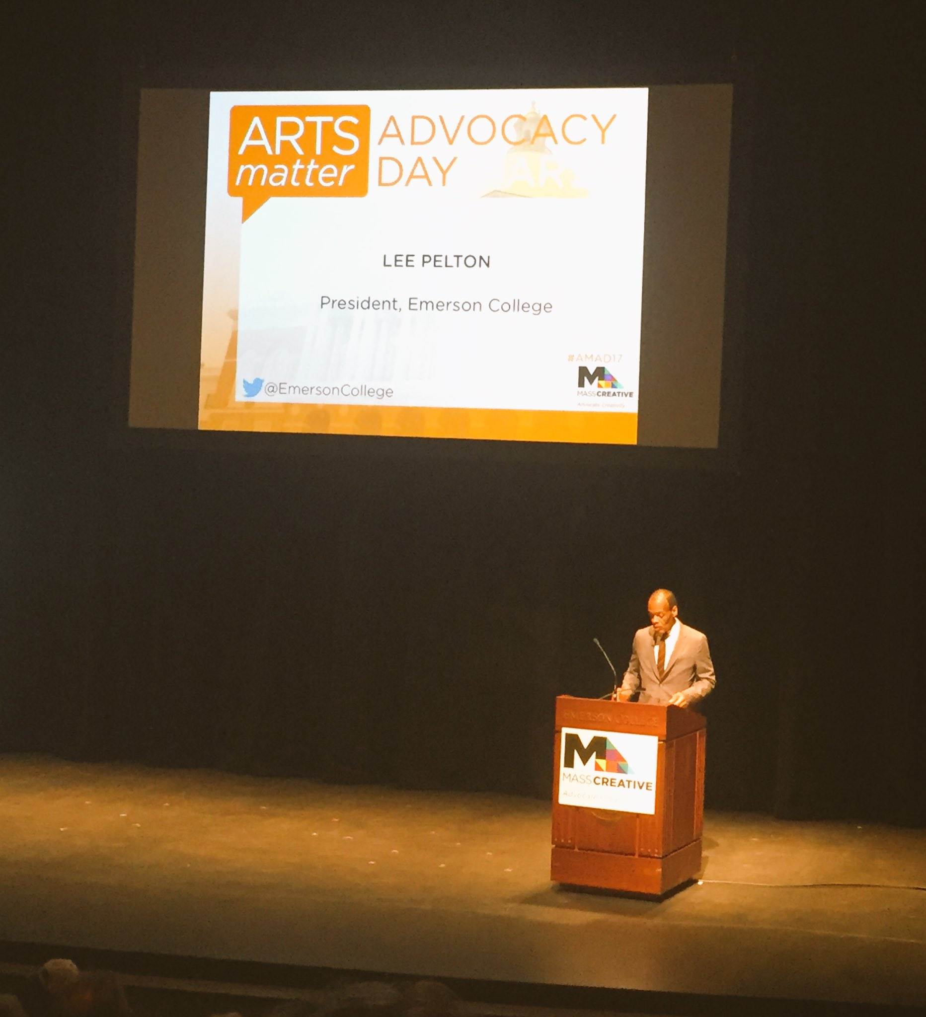 """We need the arts to teach us how to breath"" Lee Pelton of @EmersonCollege welcomes us to #AMAD17 https://t.co/1BjZKF6vdd"