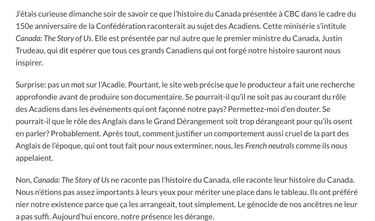 Quand le Canada oublie ses bâtisseurs Acadiens dans son anniversaire! #Lautre150e #polcan #Polqc<br>http://pic.twitter.com/Soa5nND0T4