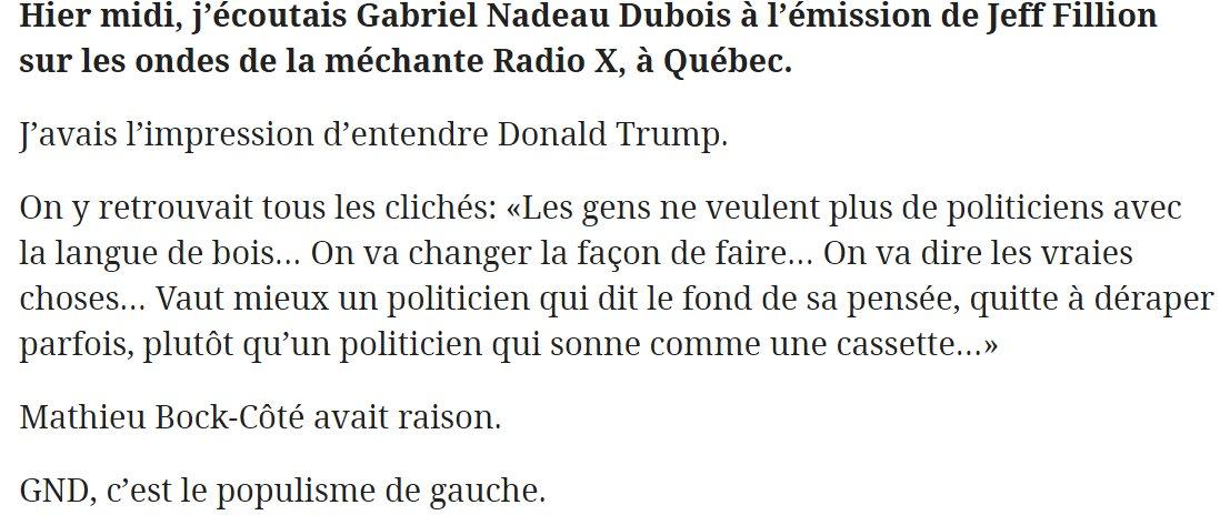 À part les cheveux, quelle est la différence entre #Trump e #GND?  http://www. journaldemontreal.com/2017/03/28/la- nouvelle-cassette &nbsp; …  #PolQc #Populisme #AssNat #PaysQc #PQ Extrait: <br>http://pic.twitter.com/A82ZN4Hxdw
