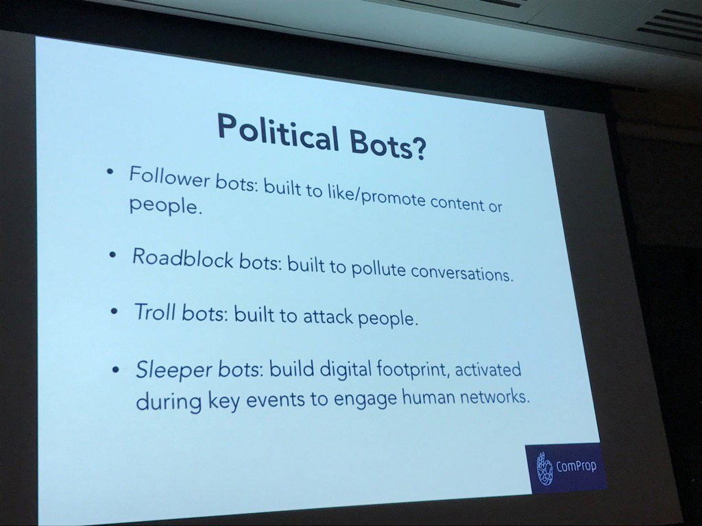 Know your bots: Guide to political bots from @samuelwoolley at #hhldn...