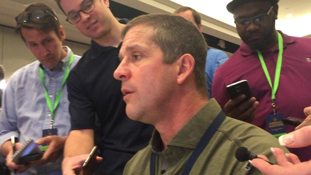 Ravens' John Harbaugh on what the Patriots are getting in DL Lawrence...