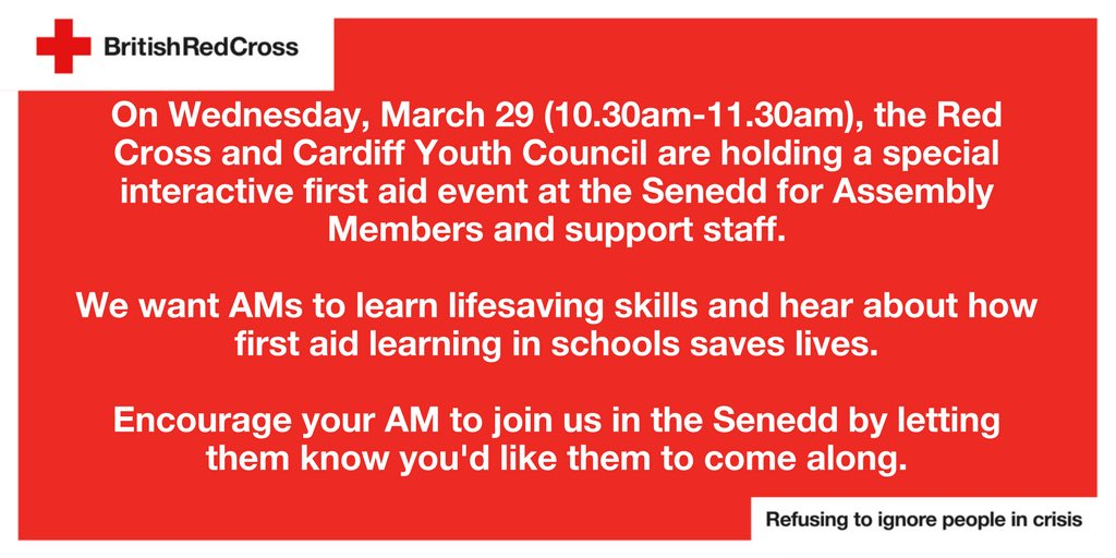 Looking forward to tomorrow with @BritishRedCross at the Senedd. First aid skills with AM's  We support first aid in schools #learnandshare https://t.co/ccSYpSKqLi