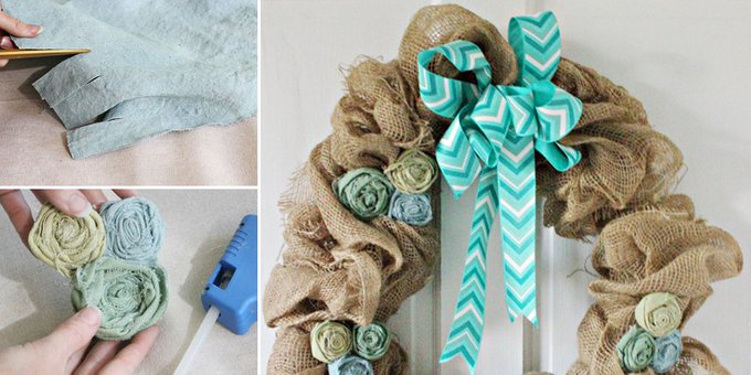 Spring DIY Wreath Made with Burlap