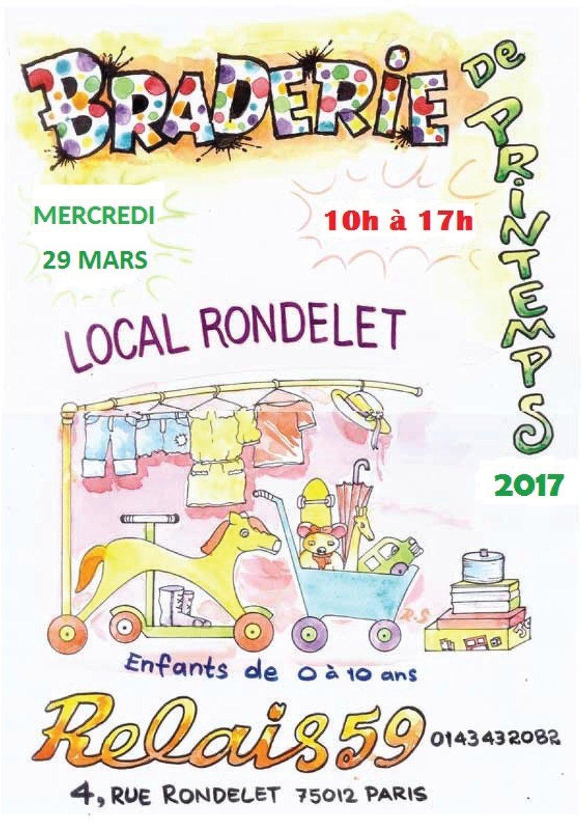 [EVENEMENT] #Braderie de #printemps mercredi 29 mars 10h à 17h - 4 rue rondelet #Paris12 #jeux #vêtement pour #enfant #videgrenier #brocante <br>http://pic.twitter.com/Qu56YIOti3