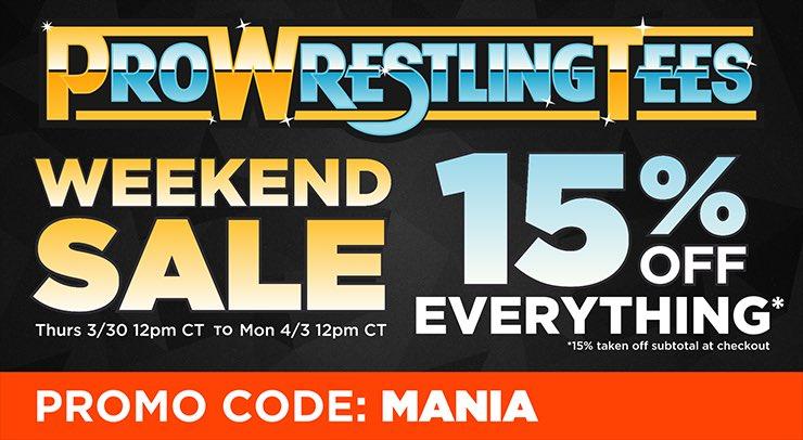 @ProWrestlerTees sale! Starts Thursday! 15% using code MANIA!   https:...
