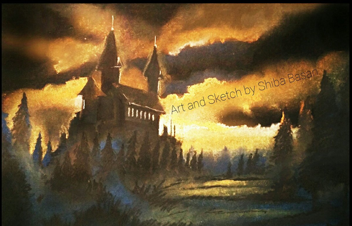 Artandsketch On Twitter Drawing Of A Castle On Hill Night Sky