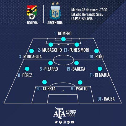 #Eliminatorias Así formará @Argentina 🇦🇷 para el duelo ante #Bolivia 🇧...