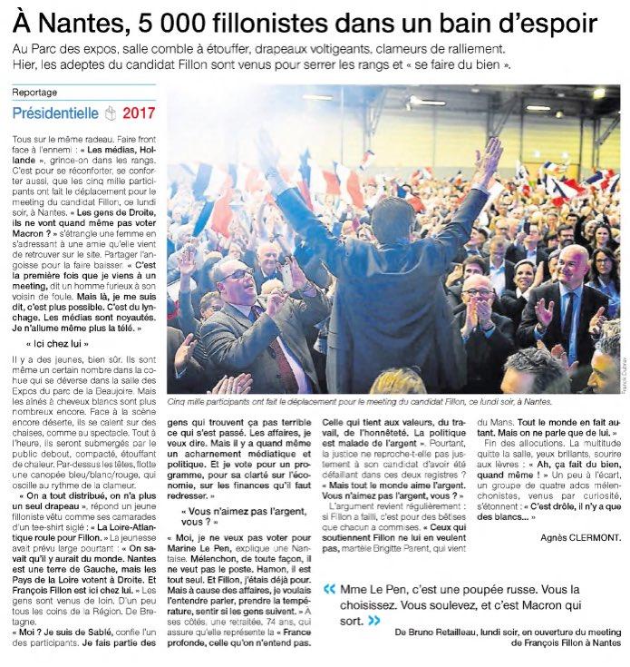 Dans @presseocean et @OuestFrance44, @FrancoisFillon offre un nouvel espoir à la droite à #Nantes après un meeting bouillant  <br>http://pic.twitter.com/mtfkztAA2z