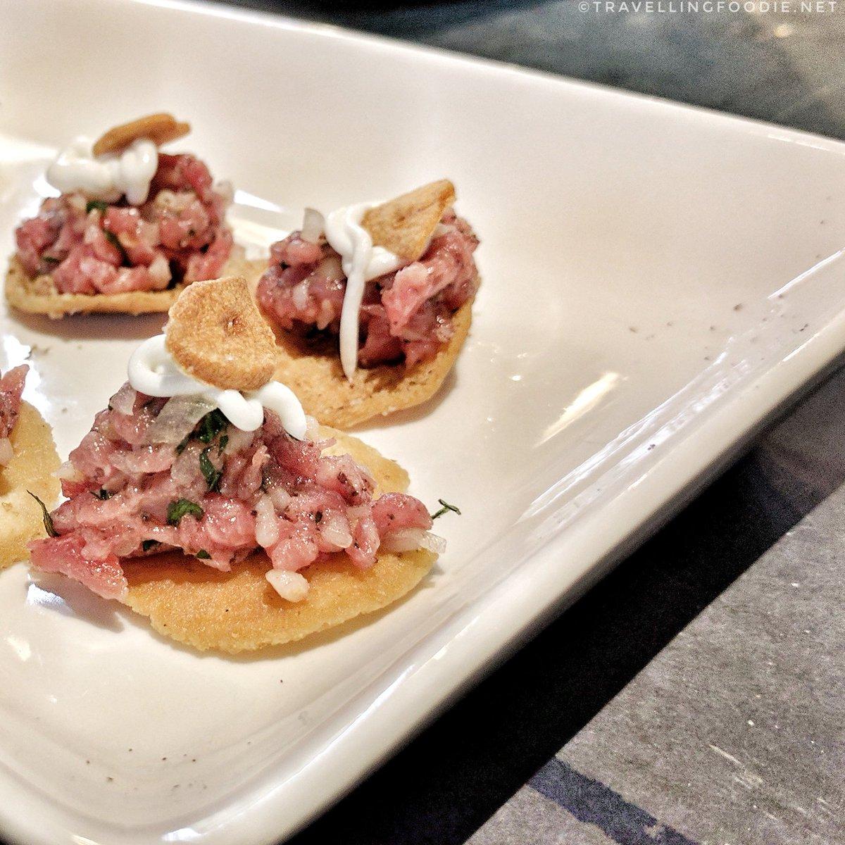 Lamb Kibbeh on a Crispy Pita by Chef Andrea Nicholson at Top Chef Canada: All-Stars Event