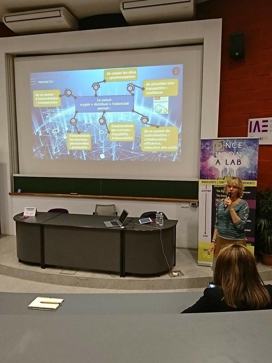 La #blockchain sécurise les données sensibles grâce au cryptage et la tracabilite. #OUAL @IAEStartupLab @IAE_Montpellier<br>http://pic.twitter.com/wdsMT7QqgL