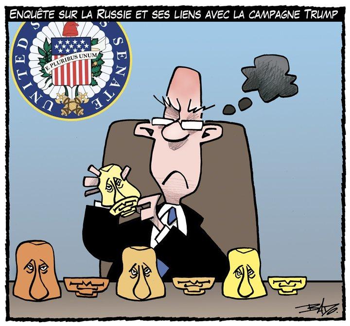 Dessin de mardi: le Sénat américain enquête sur la Russie et la campagne Trump. #ledroit  #polusa <br>http://pic.twitter.com/q9yXIVyYdO