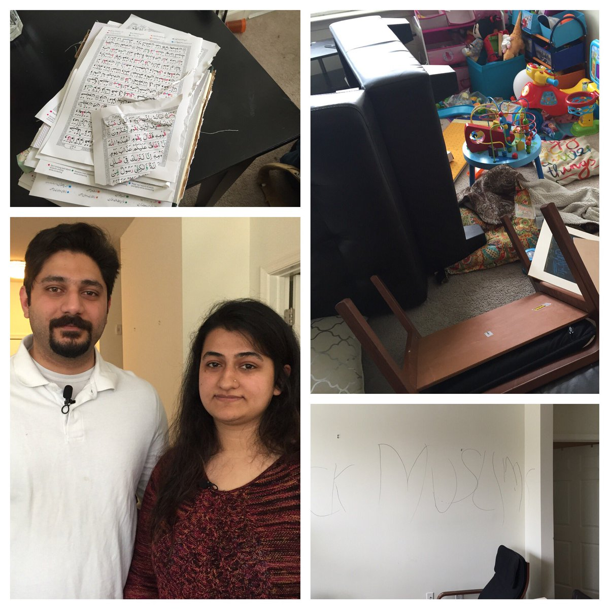 A Muslim couple returns from a  trip to find their #Fairfax Co home ransacked, the Quran torn, a slur on the wall. The story #NBC4DC@6 <br>http://pic.twitter.com/fgLu66PWim