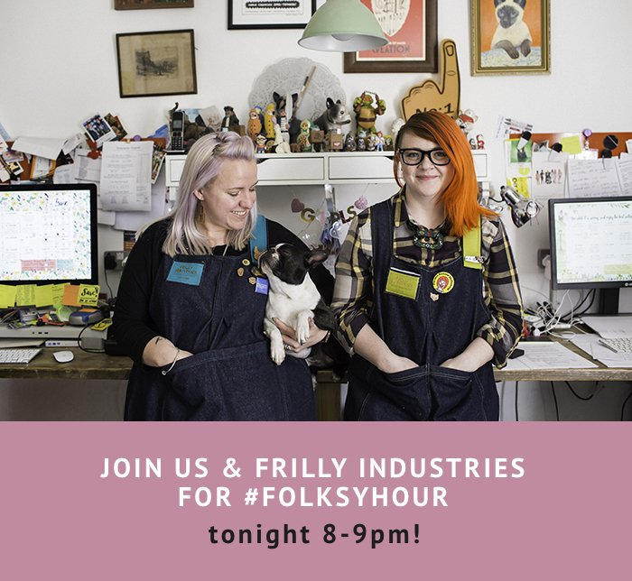 Who's coming to #folksyhour tonight? The ever-awesome @frillyind will be hosting and exploring ways to share our skills. Starts at 8pm! https://t.co/VWrMFjAgdv
