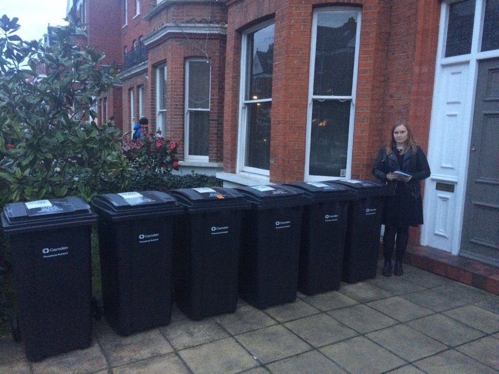 Waste contract not working for residents - new bins taking up this driveway in Canfield Gardens. @SwissCottTories https://t.co/TgLuhQ4Q0J