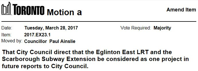 Councillor Ainslie has moved motions on item EX23.1 Scarborough Subway...