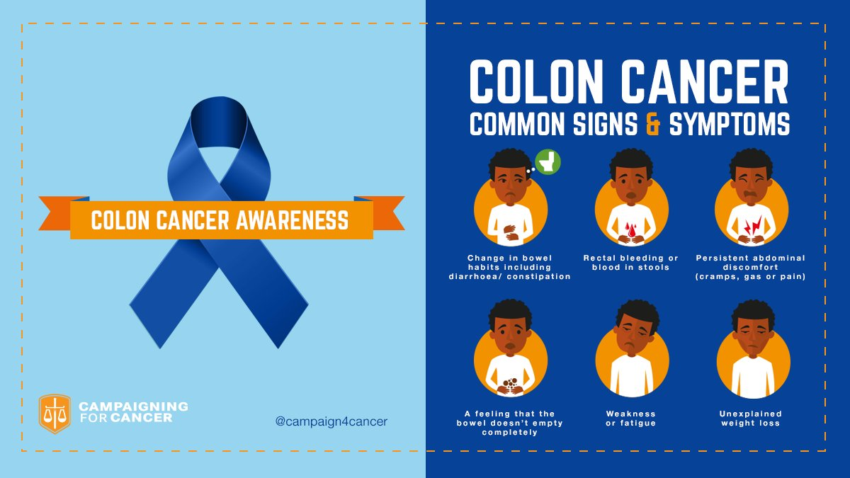 Campaign 4 Cancer On Twitter Colon Cancer Signs And Symptoms Remember Early Detection Saves Lives Click Here To Learn More Https T Co 5eryxf7hwm Coloncancermonth Https T Co Ve3hyosfpa
