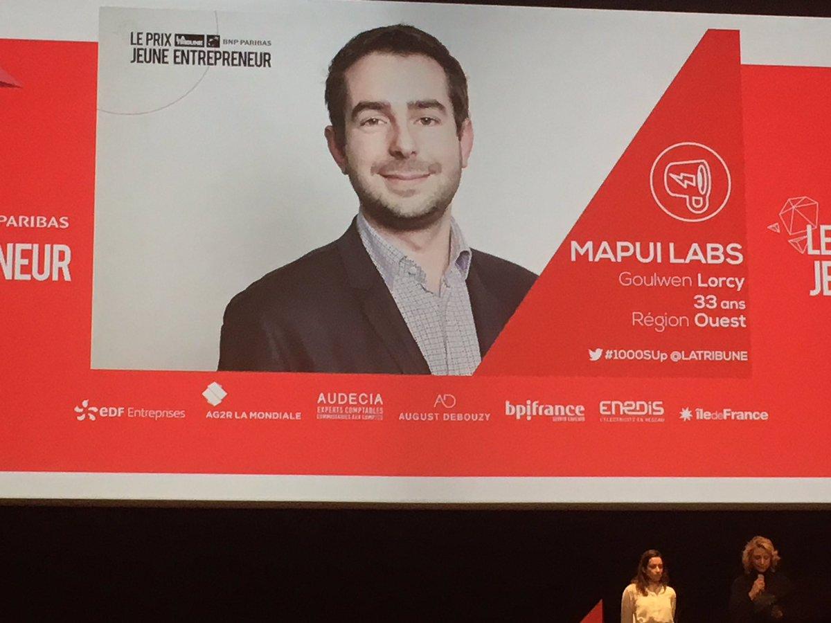 Le prix #Start des jeunes entrepreneur @LaTribune est décerné à Goulwen Lorcy de Mapui Labs @_mapui #1000SUp<br>http://pic.twitter.com/8zug8nfATS