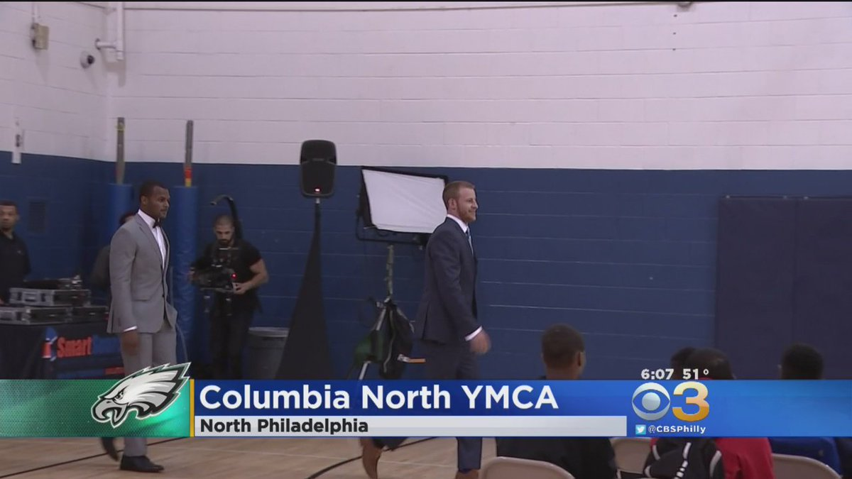 carson wentz philadelphia topics top local now carson wentz talks to teens at columbia north ymca today about looking and feeling their best