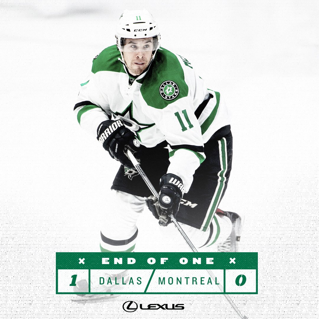 The #Stars carry a 1-0 lead into the locker room after the first perio...