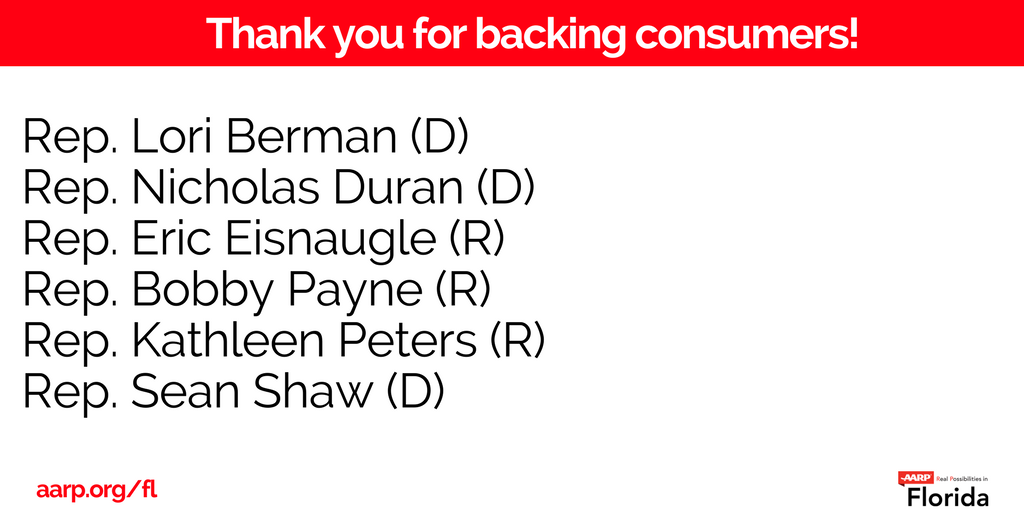 .@AARPFL wants to thank the 6 Reps. on the Energy &amp; Utility Subcommittee who sided consumers when voting down #HB1043. #sayfie #FlPol<br>http://pic.twitter.com/fk1XAfHofn