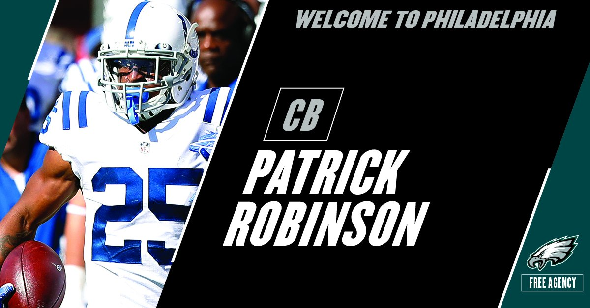 Roster Move: #Eagles agree to terms with CB Patrick Robinson on a one-...