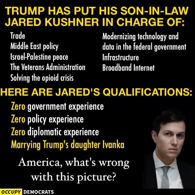 Kushner has a new job reforming the VA (which means outsourcing) and solving opioid crisis! This is disturbing at best! #veterans .@NPR @CNN<br>http://pic.twitter.com/9wLvxUawoz