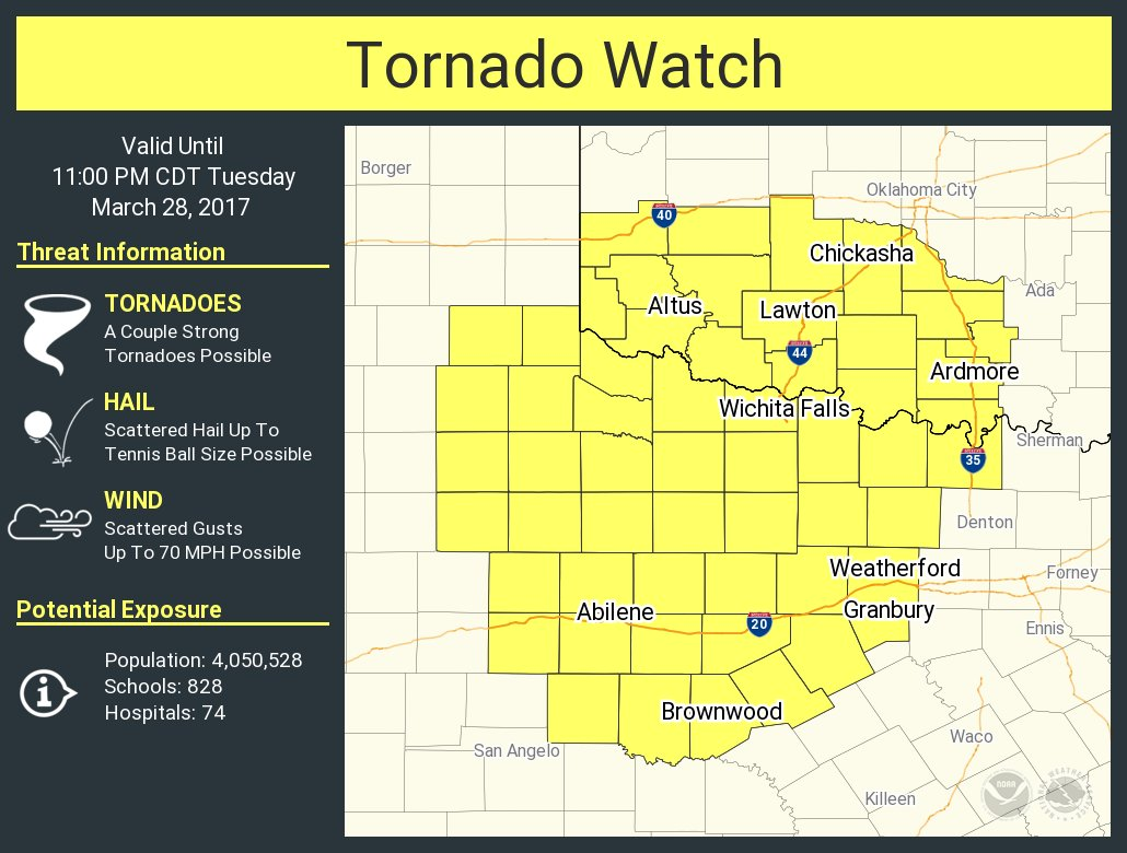 A tornado watch has been issued for parts of Oklahoma and Texas until...