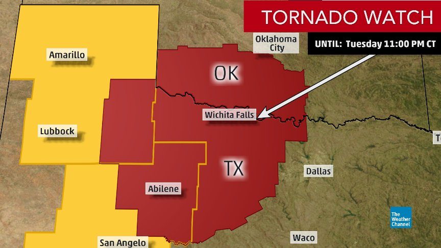 NEW: A #tornado watch has been issued for southwest and south-central...