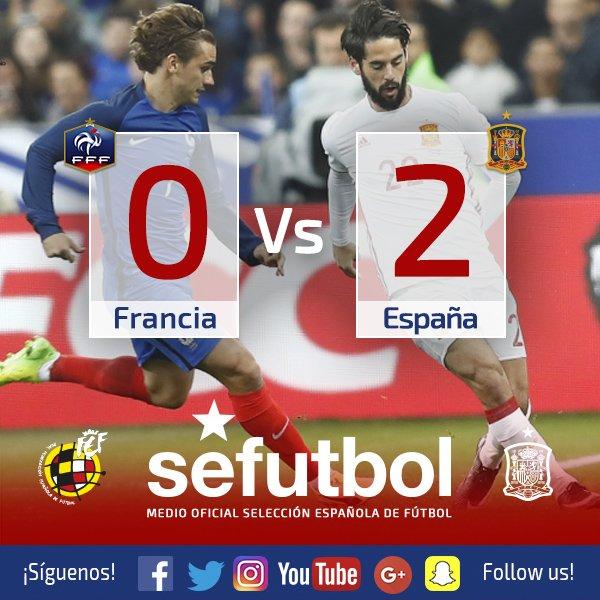¡FINAL! ¡Qué gran victoria ante Francia con los goles de @21LVA y @ger...