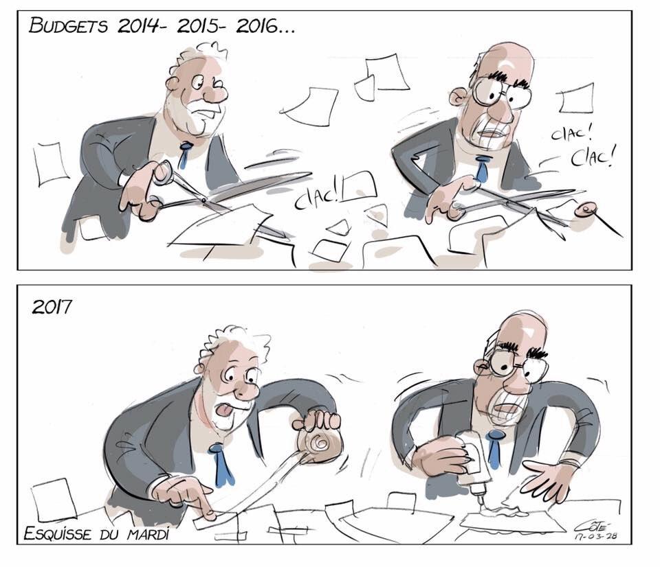 Caricature de Côté :) comme l&#39;a dit @NMarceauPQ : budget de rafistolage. #polQc #budgetQc #AssNat <br>http://pic.twitter.com/HTW92oRsjj