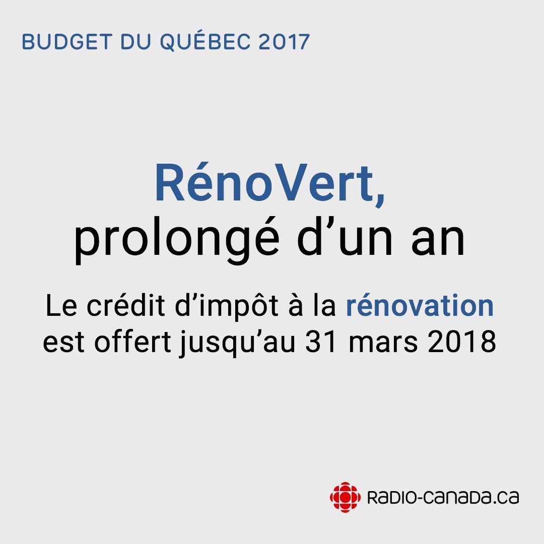#BudgetQc - Fait saillant du budget Leitao : le crédit d&#39;impôt à la rénovation est prolongé   http:// ici.radio-canada.ca/sujet/budget-q uebec-2017 &nbsp; …  #polqc #assnat <br>http://pic.twitter.com/uZ60EL0Trs