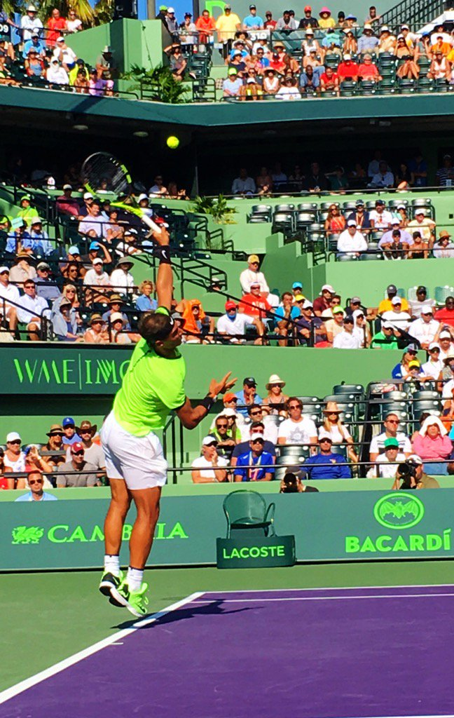 Much > serving from @RafaelNadal today. E2 at 1ET mañana from Miami...