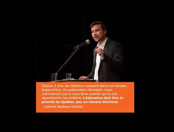 Réaction au #Budget2017 : L&#39;éducation doit être la priorité du Québec, pas un nanane électoral #PolQc #assnat <br>http://pic.twitter.com/6FSW1NdTj0