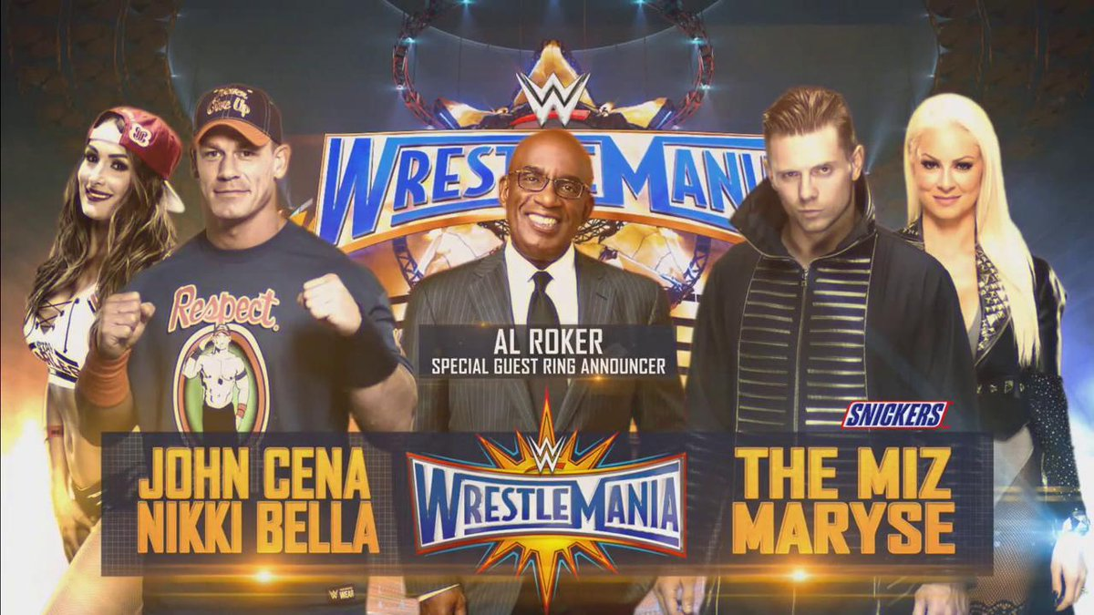 Image result for John Cena & Nikki Bella vs. The Miz & Maryse with Al Roker