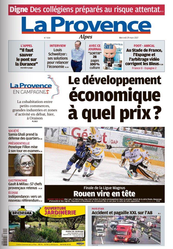 La #Une de LaProvence #Alpes #économie #Oraison  #hockey #Gap perd son 1er match #pont sur La #Durance  #attentats<br>http://pic.twitter.com/C4vPwmAHNO