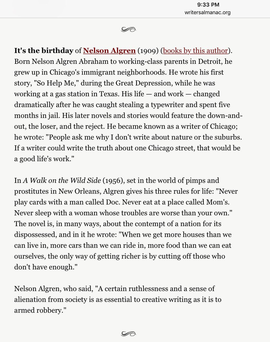 Thought of @Casablancas_J today since it&#39;s #NelsonAlgren &#39;s bday. He wrote &quot;A Walk on the Wild Side.&quot; Thanks @writersalmanac !<br>http://pic.twitter.com/3v6QgiaXMh