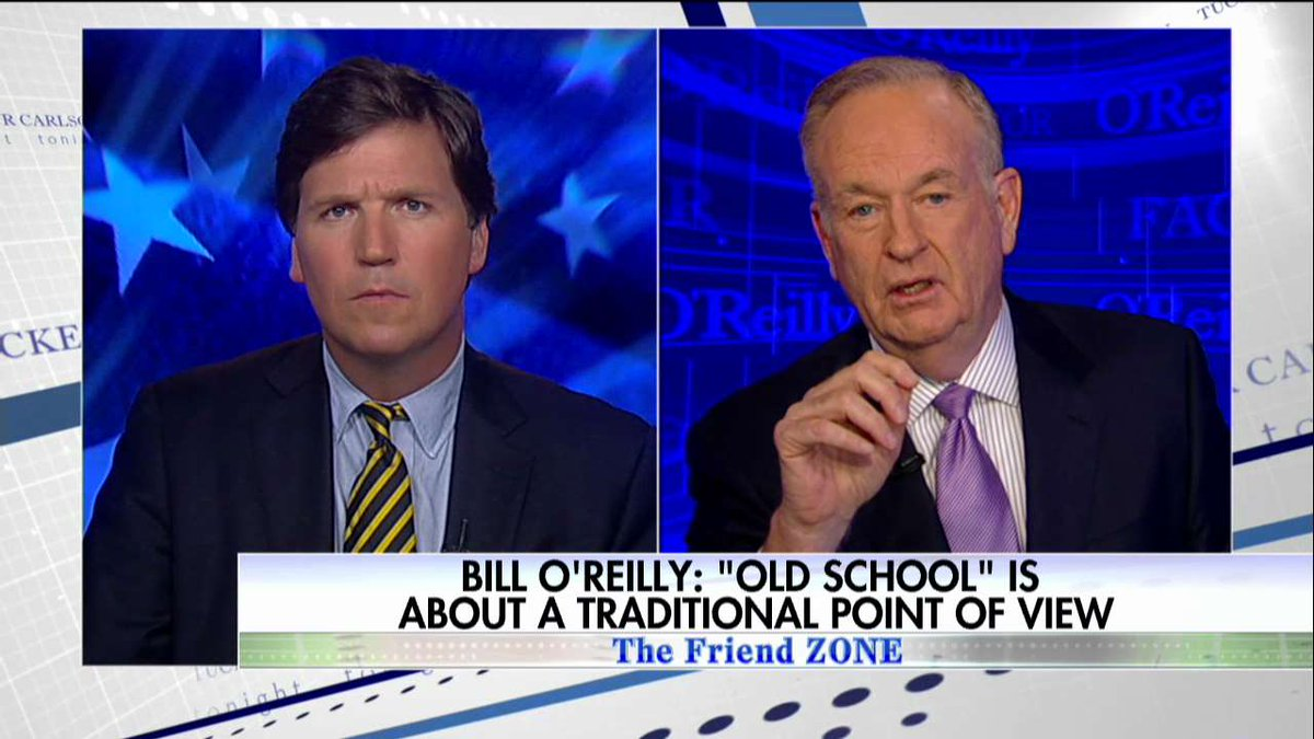.@oreillyfactor: &quot;Politics doesn&#39;t mean you&#39;re &#39;old school&#39; or you&#39;re a &#39;snowflake&#39;...It crosses boundaries.&quot; #Tucker <br>http://pic.twitter.com/WYj5lVXW1E