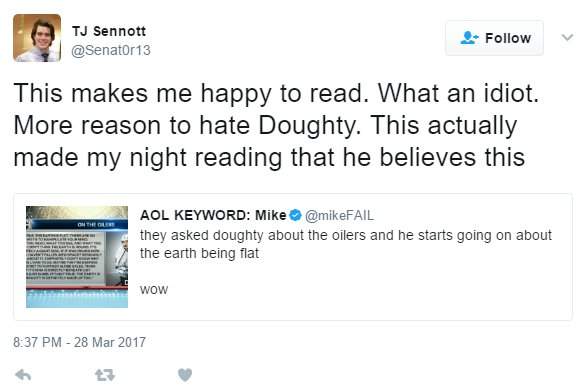 I have now convinced this poor boy that Drew Doughty is a flat earther...