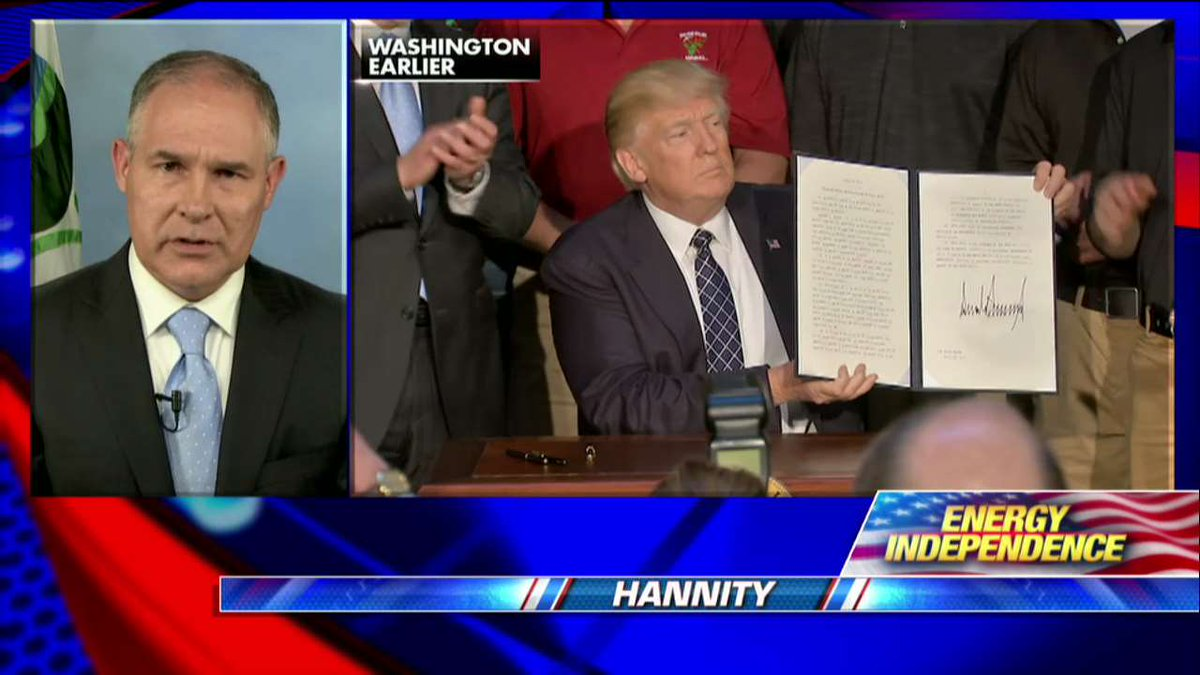""".@EPAScottPruitt: """"We're going to create jobs across all sectors of the economy because of what the President did today."""" #Hannity <br>http://pic.twitter.com/LF2qtcir5I"""