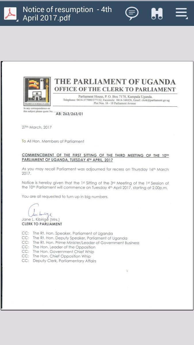 Parliament Of Uganda On Twitter Plenaryug Will Resume On Tuesday