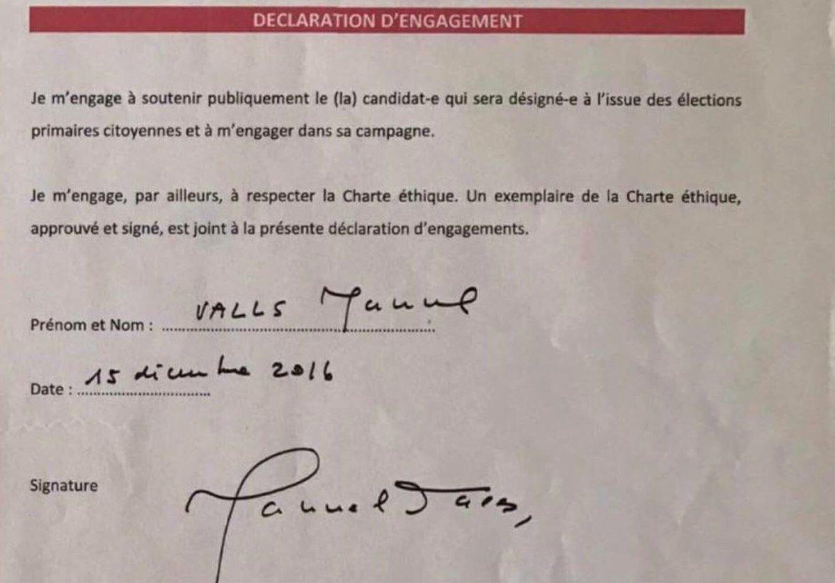 Signé craché juré @manuelvalls s&#39;était engagé à soutenir le vainqueur de la primaire PS.  Ça pose un gros problème cette absence d&#39;#éthique. <br>http://pic.twitter.com/egTC1vwRK9