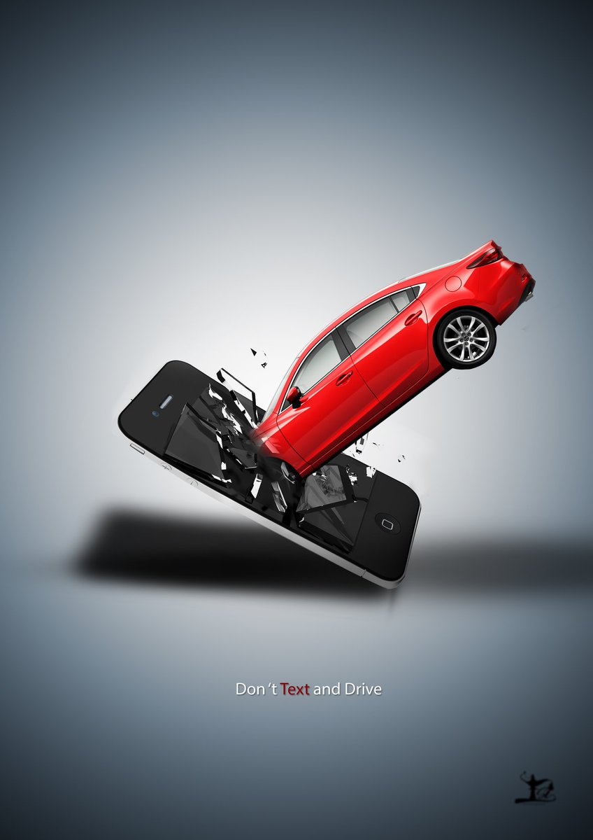 'Don't text and drive ' ad concept designed by me ... pls RT 👇👇 https:...