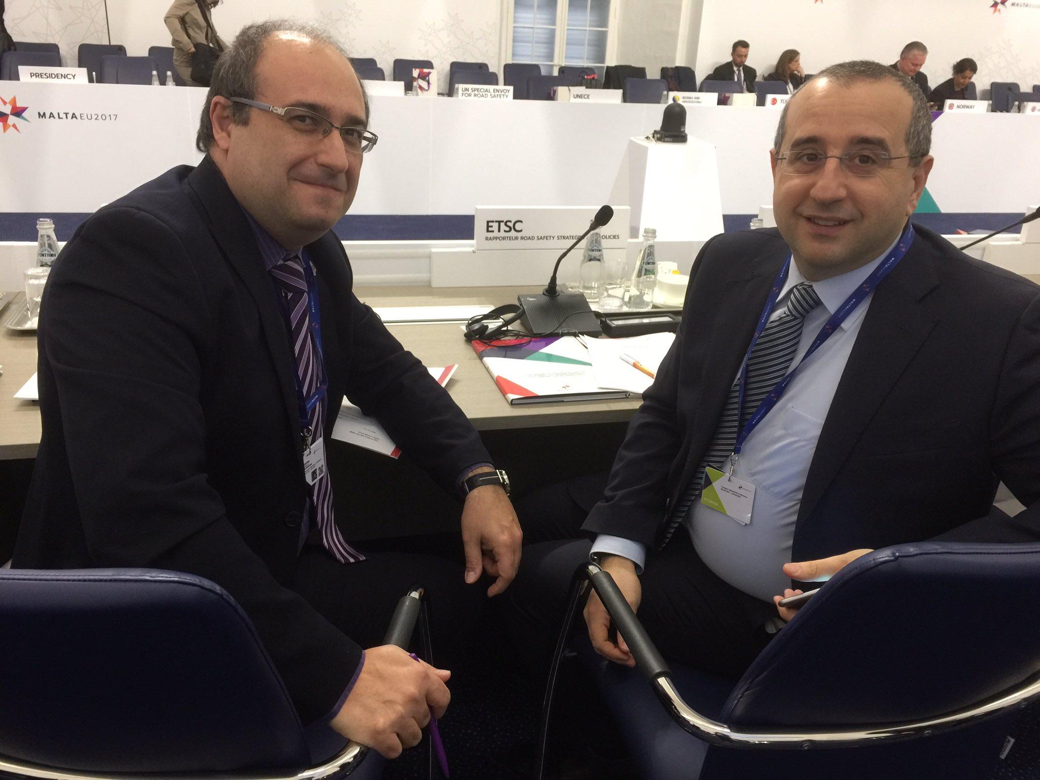 Tispol President Paolo Cestra @TISPOLorg and CEO ETSC Antonio Avenoso @ETSC_EU ready to speak Road Safety Conference Malta today. #EU2017MT https://t.co/8OrRoK2keQ