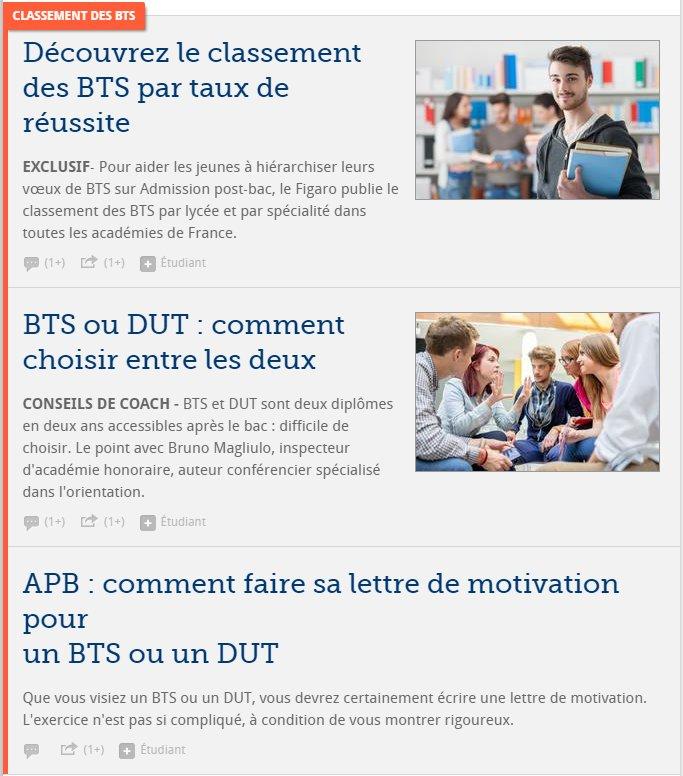 Ce matin sur @Le_Figaro découvrez notre ensemble pour tout savoir sur les #BTS et #DUT avec le classement des BTS  http:// etudiant.lefigaro.fr / &nbsp;  <br>http://pic.twitter.com/dRRIqFtynV