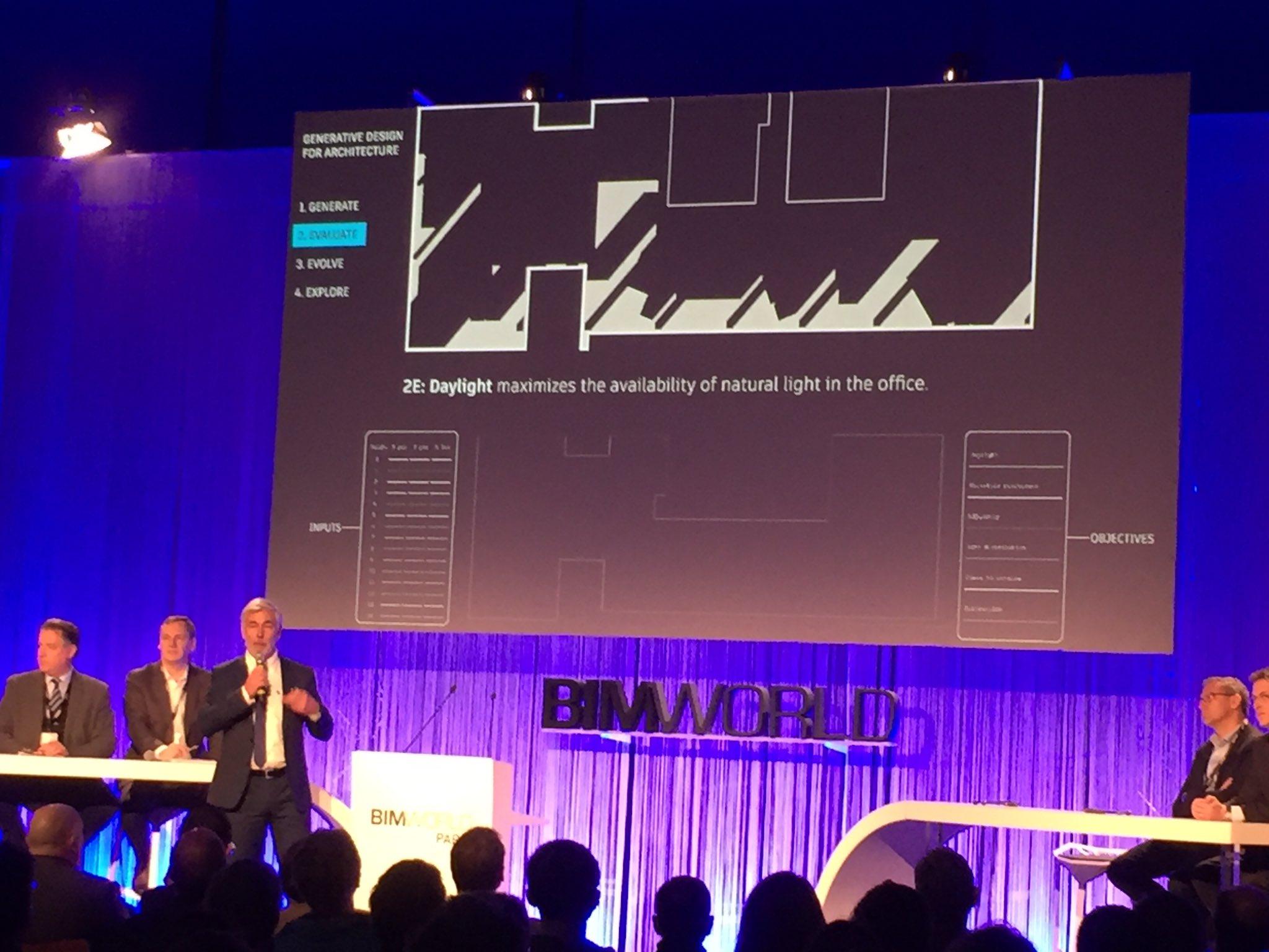 """""""L'#AI permet de proposer des designs que vous n'auriez jamais pu imaginer seul!"""" #BIMworld Uwe Wasserman (Autodesk) https://t.co/DWbFgVGTnP"""