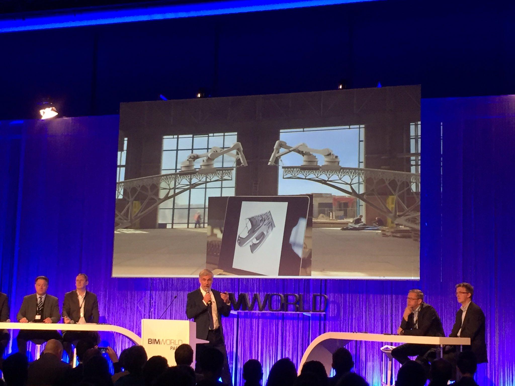 """""""Le pont imprimé en 3D, la rencontre entre le monde du #BTP et l'industrie !"""" Uwe Wasserman #BIMworld https://t.co/tHfBmDXBak"""