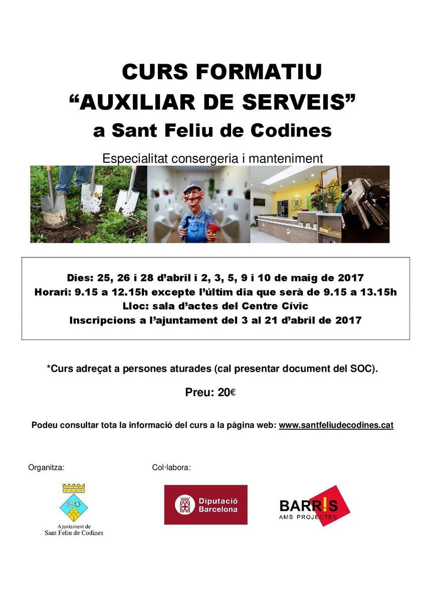 #Si #ets de #SantFeliudeCodines i #estàs a l&#39;#atur, #ara #curs #Auxiliar #de #Serveis, #consergeria i #manteniment T&#39;#interessa? #formacio<br>http://pic.twitter.com/WFqCPoJdc0