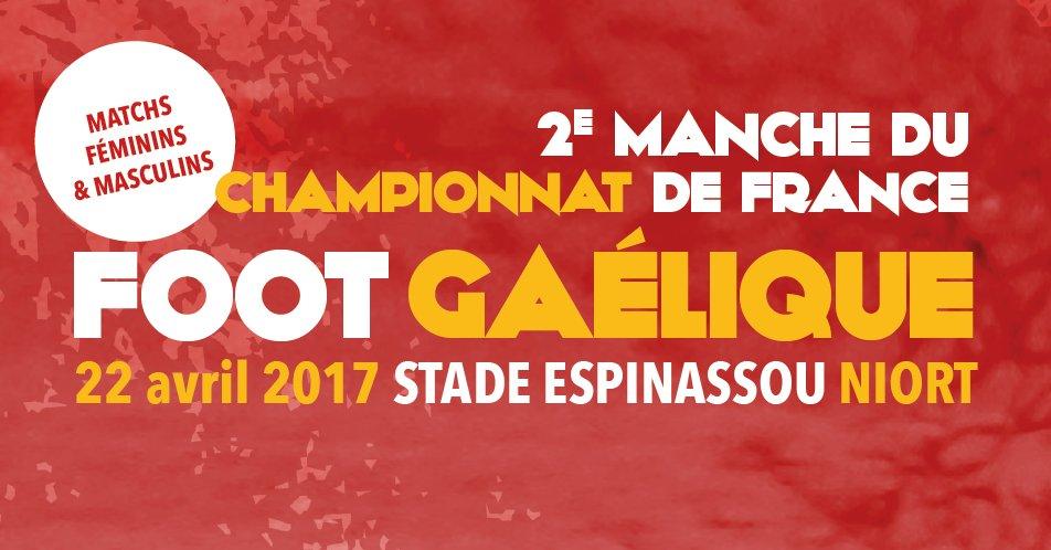 2e manche du championnat de France masculin et féminin de #football #gaélique à #Niort, le 22 avril. Entrée Gratuite. #sport #deuxsevres<br>http://pic.twitter.com/VnXrIYtQqJ