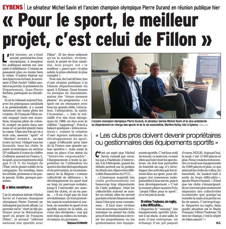 Nous avons présenté hier avec @PierreDurand88 le projet #sport de @FrancoisFillon à Eybens @Fillon2017sport @Fillon2017_38<br>http://pic.twitter.com/sdXWt63Nxy